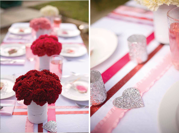 Diy valentines table decor petal pixies take on love for Diy valentine table runner