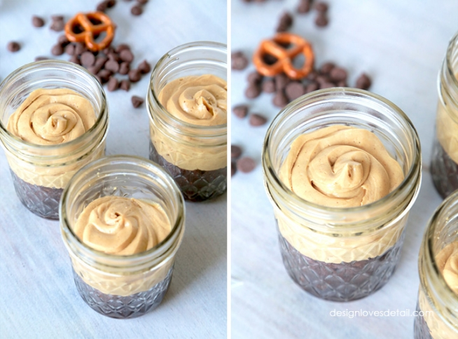 St Patricks Day Mason Jar Peanut Butter Pretzel Brownie Dessert by Design Loves Detail 04
