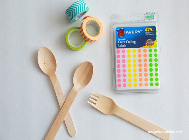 Colorful Wooden Utensil DIY with Washi Tape & Polka Dots by Design Loves Detail 03