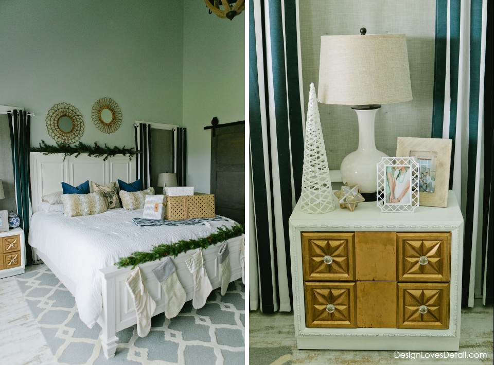 Obsessed with this Christmas decorated master bedroom. Love the navy blue with holiday touches!