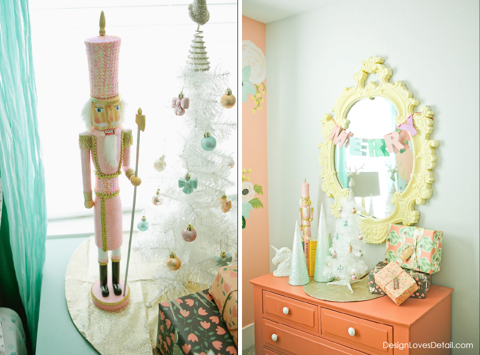 How to do Christmas in your little girls bedroom. This is the cutest! Love that little white tree & pink nutcracker!!