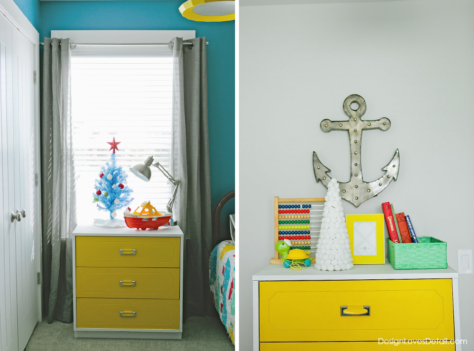 Funky, modern Christmas decor in kids room!