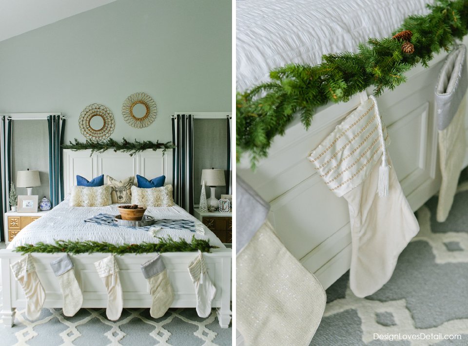 Christmas bedroom! Love the stockings at the end of Mom & Dad's bed!! Such a cute tradition.