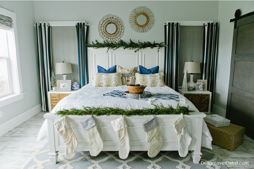 My favorite holiday bedroom. Christmas Master Bedroom style. Simple decor that totally trasnforms this space. Lots of great holiday and home decor ideas. I love decorating for Christmas!