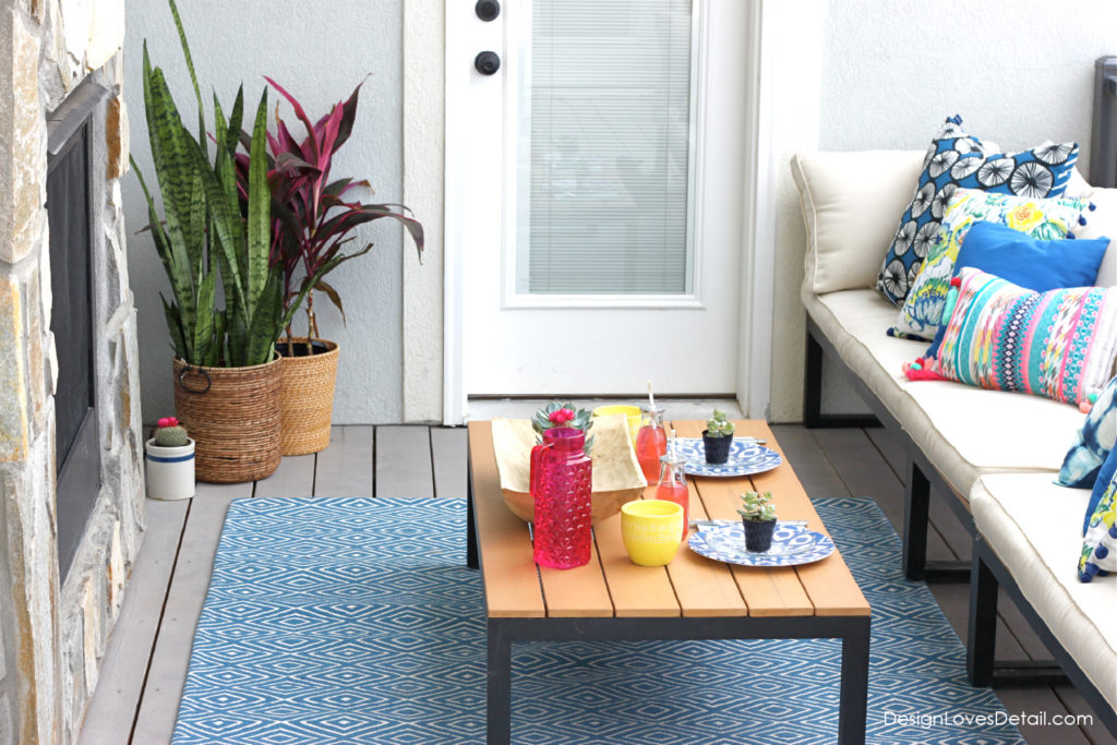 Outdoor patio style with tropical flair. Product links included!