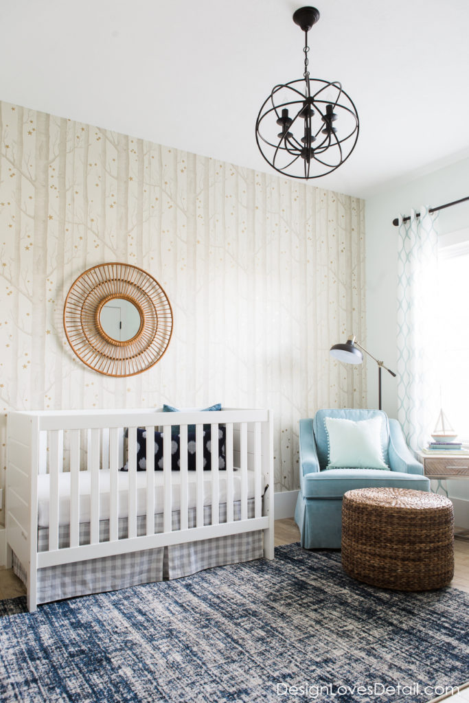 A modern baby boy nursery space. Affordable makeover by DesignLovesDetail.com!