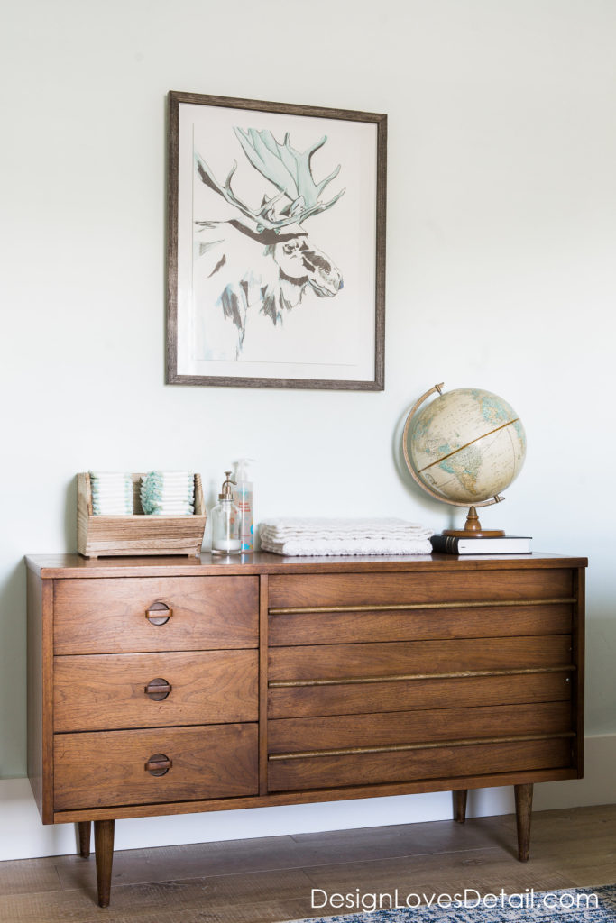 I'm in love with this cute dresser and set up. Great tips on how to save money when decorating