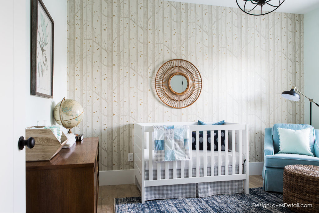 Fresh modern nursery space. Spring One Room Challenge project. My favorite wallpaper!