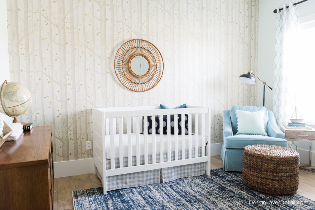 A fresh, modern nursery space for baby! Love the subtle colors and whimsical feel.