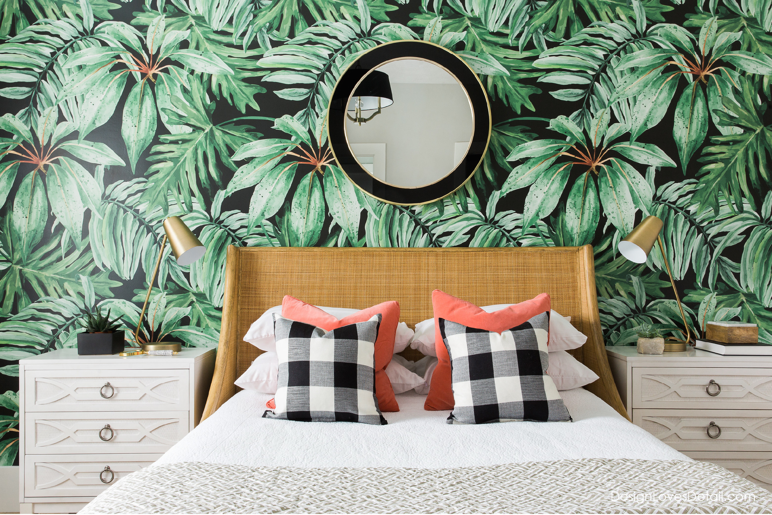 I'm obsessed with this bedroom & wallpaper by designlovesdetail.com. click the link for product details!