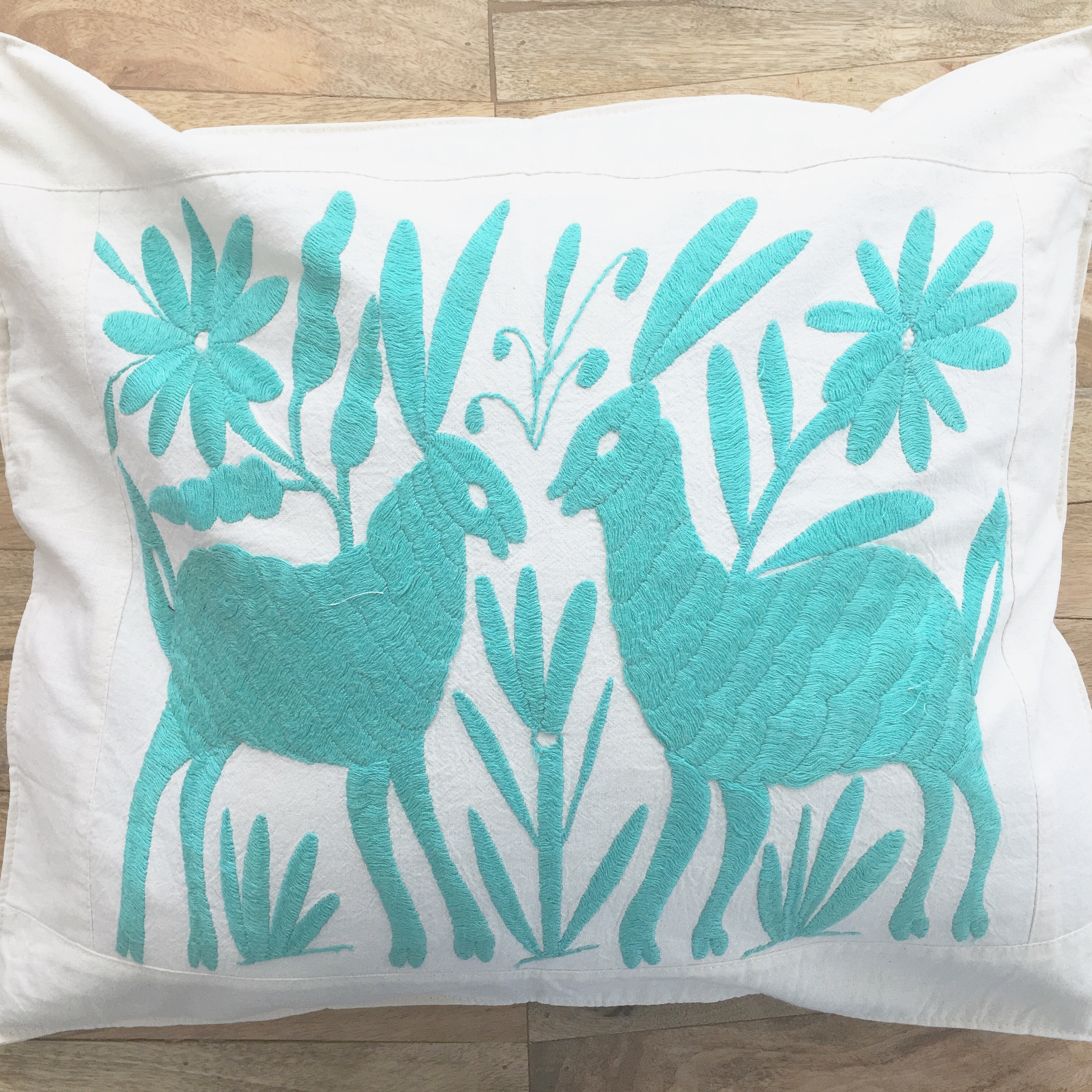 Mexican folkart embroidered pillow cover seafoam teal