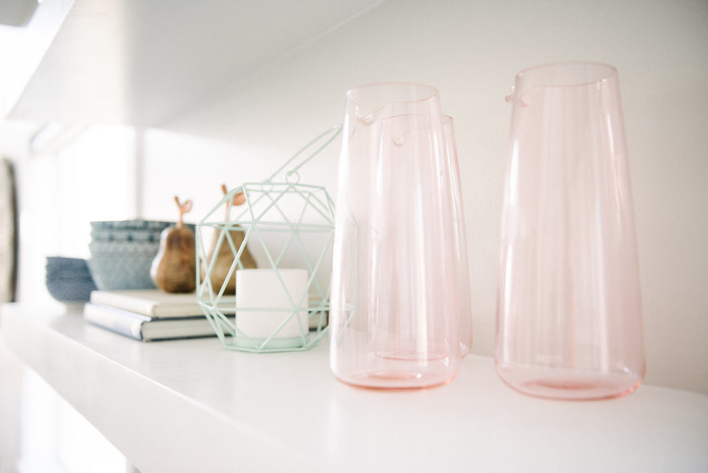 Ikea Pink Glass pitchers and lots of shelf styling ideas