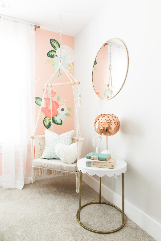 Girls room with hand painted floral wall