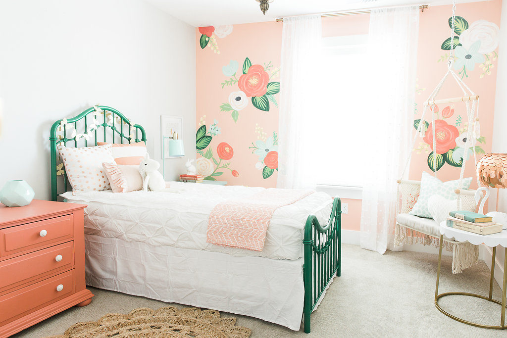 Cutest Ever Girls Bedroom With Floral Wall