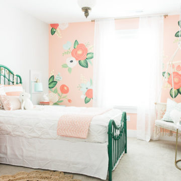 Love this hand painted floral wall girls bedroom