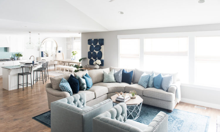 Great Room with subtle blues for a zen feel-- see the full home tour on DesignLovesDetail.com