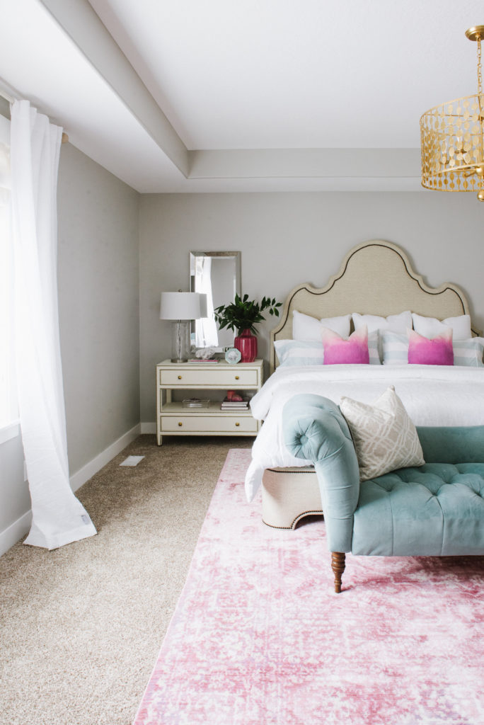 Colorful, fresh master bedroom by DesignLovesDetail.com