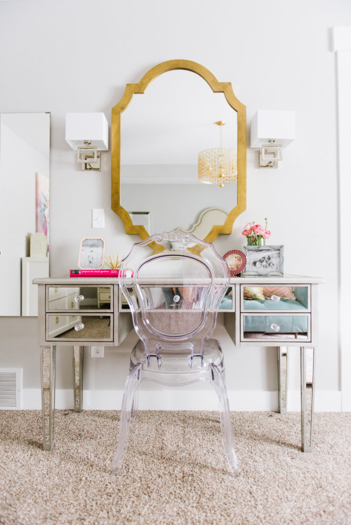 Coolest Modern Vanity area with acrylic chair-- DesignLovesDetail.com