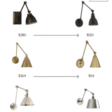 Splurge or save, affordable swing lights, nickel, brass, bronze, for every room.