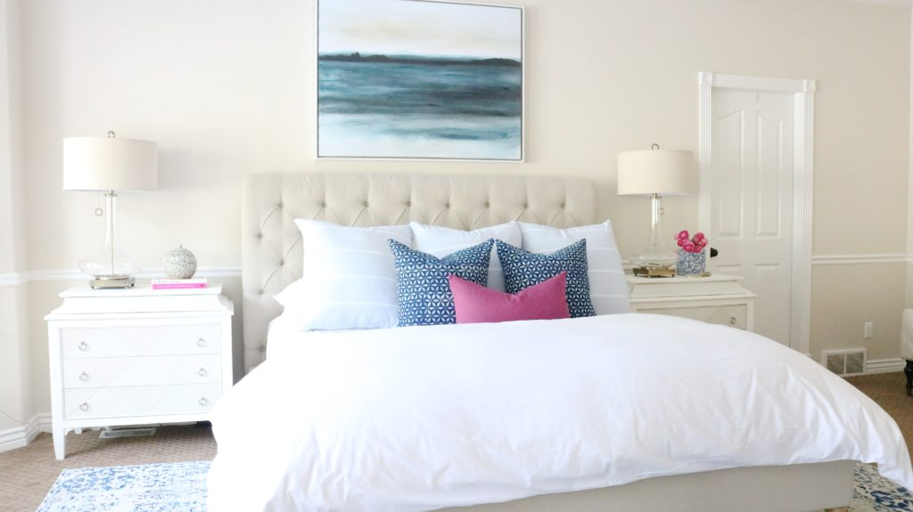 Neutral Master Bedroom with bold pop of color