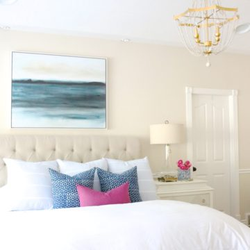 Master Bedroom with blue and white