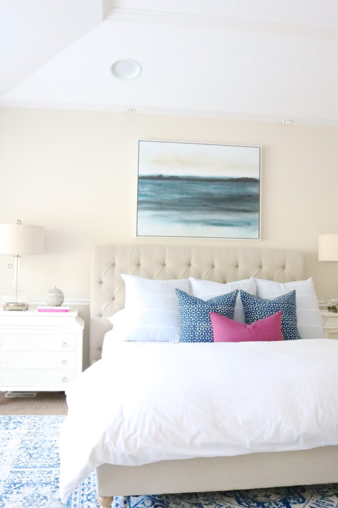 Neutral and Blue Master Bedroom