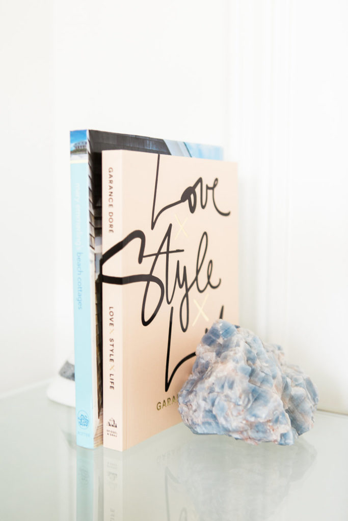 Love these pretty books and rock bookend