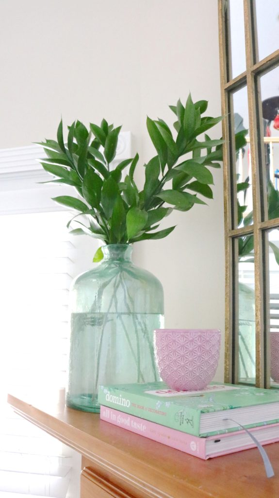 mantle decor. love the pastel colors and easy ideas to make it look cute