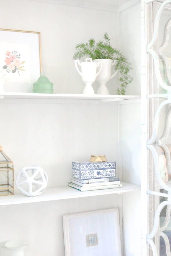 how to style your shelves. love this gorgeous china cabinet with glass doors!