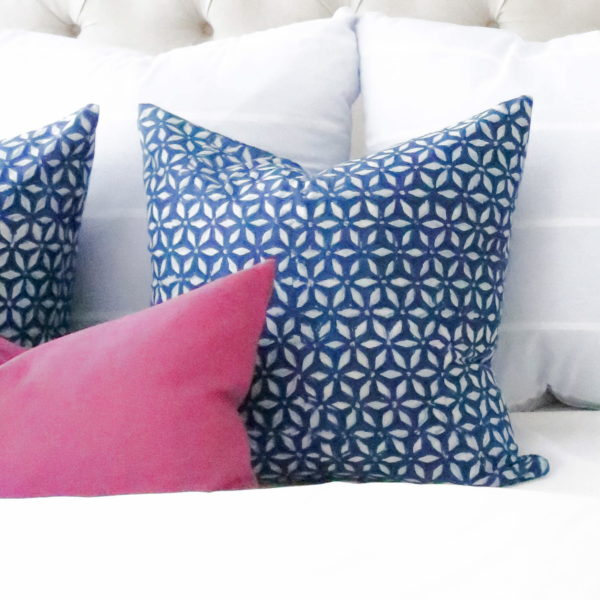 Stunning handstamped fabric from India. Custom made designer pillow covers