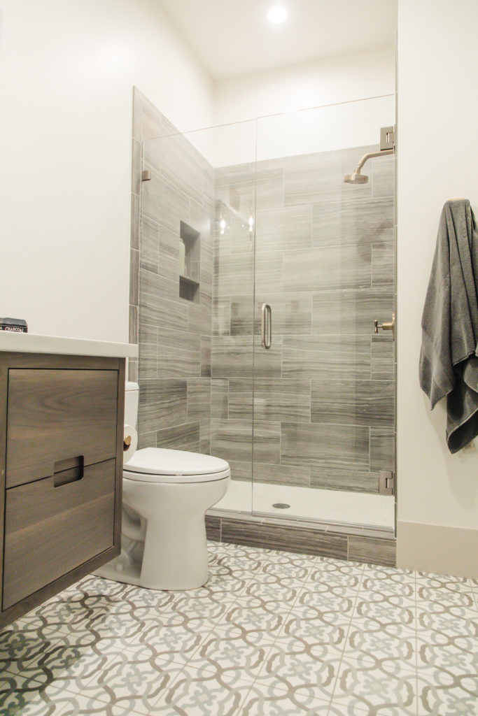bathroom updates with cement tile & modern finishes