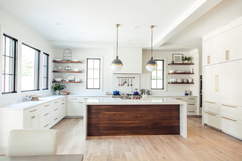 moden, clean kitchen with walnut accents