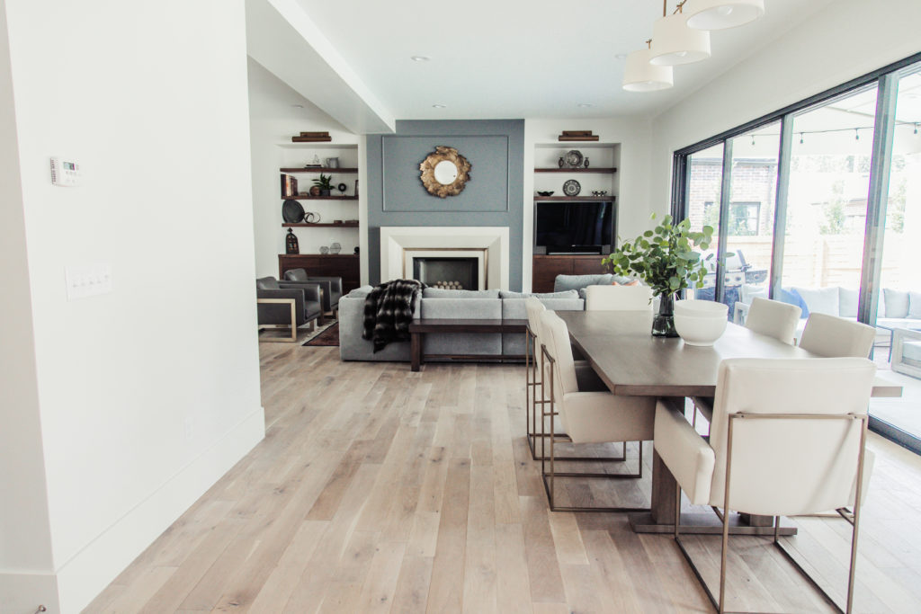 modern classic family room and dining room