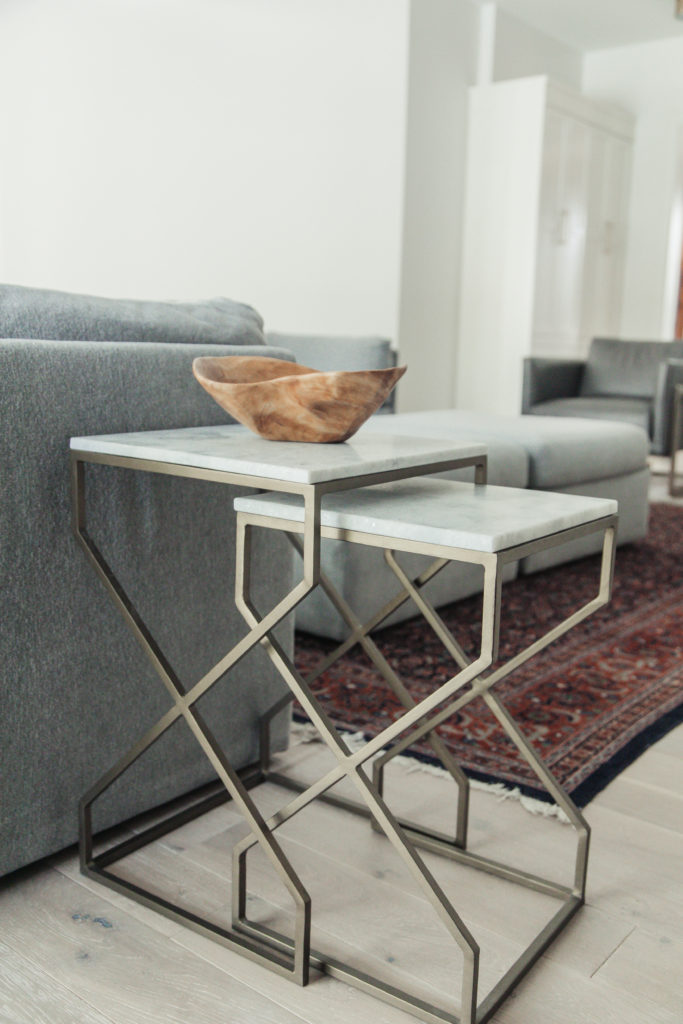 pretty brass and marble top nesting tables