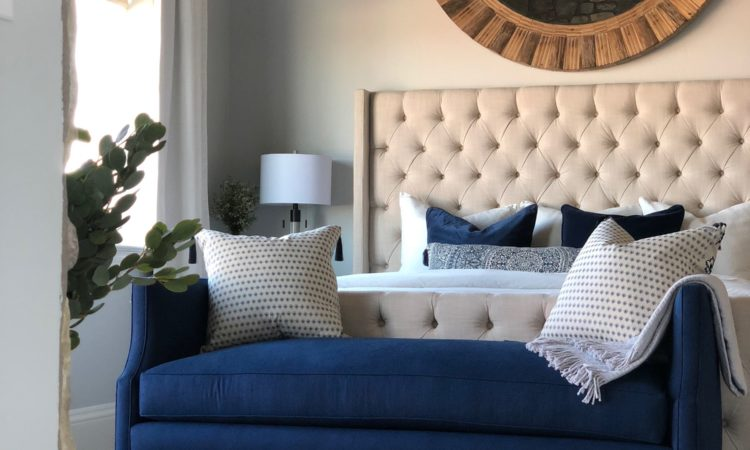 Blue and neutral master bedroom makeover