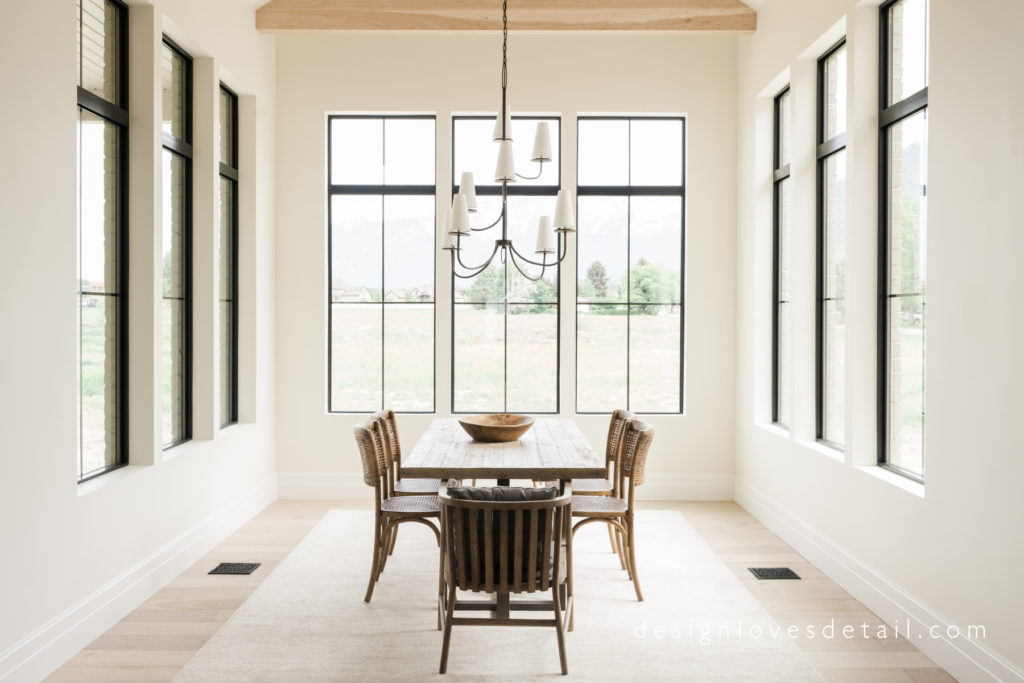 Dining Room with tall windows all around