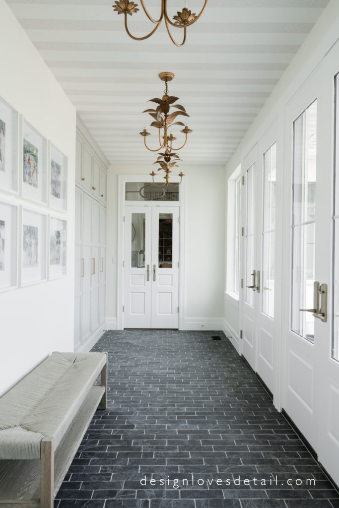 Mudroom with lots of windows and french doors