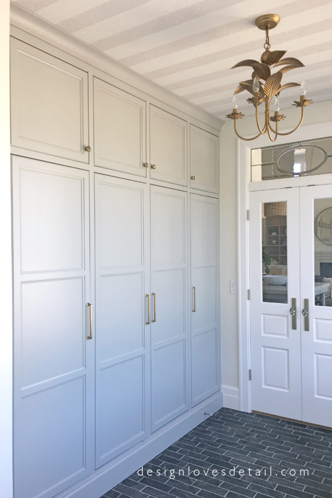 Mudroom cabinetry that functions as lockers but looks so much better!